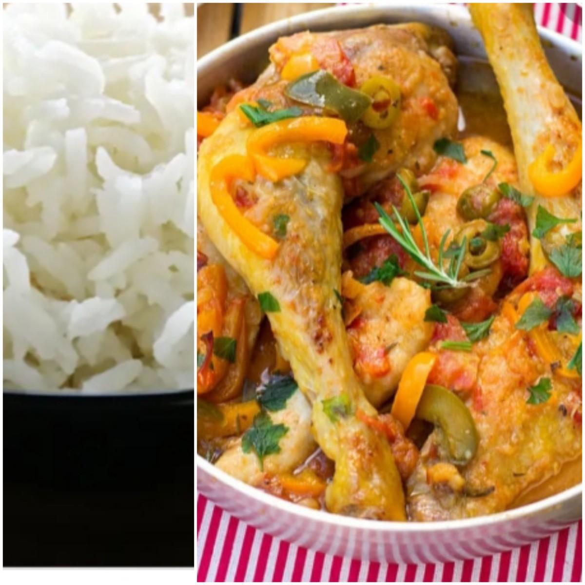 Poulet Basquaise, riz